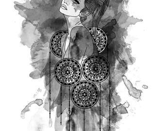 Watercolour Portrait Art Print
