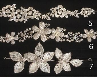 Wedding hairpiece, bride hairpiece, rhinestones elastic hairpiece, flower, butterfly