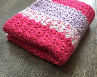 Pink, White, Purple Baby Blanket - Crochet