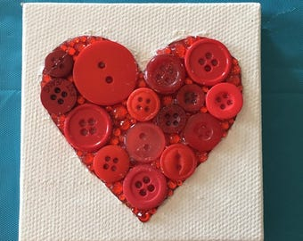 """Red Heart 3"""" by 3"""" Button Art"""