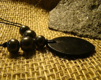 "Shungite necklace ""petal"" with beads of Karelia."