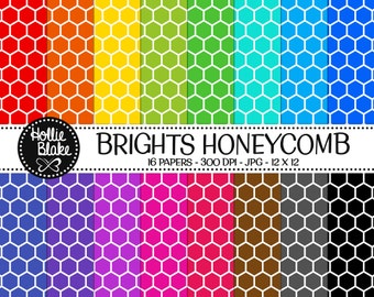 Buy 1 Get 1 Free!! 16 Bright HoneyComb Digital Paper • Rainbow Digital Paper • Commercial Use • Instant Download • #HONEYCOMB-103-2-B