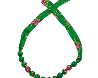 GREEN folk NECKLACE corals handmade etno scarf Poland with flowers