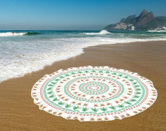 Boho Round Beach Towels, Round Yoga mat, Cotton beach roundie towel