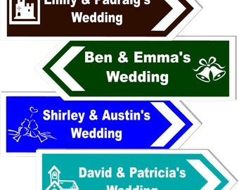 Personalised Wedding Direction Sign 17x6 Inches Choice of Style & Colour