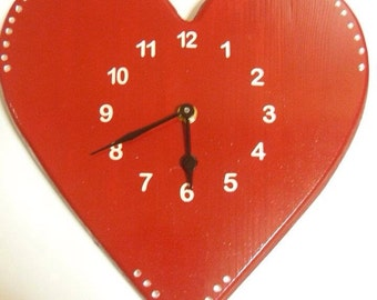 Wooden Heart Clock/red heart/valentines clock