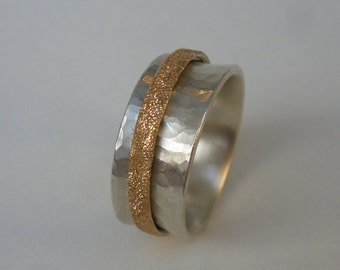 movable ring made of silver and frosted slide 750 Redgold