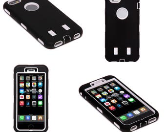 White and Black Hard Shock Proof Armour Tough Case Cover for iPhone 6 and 6S