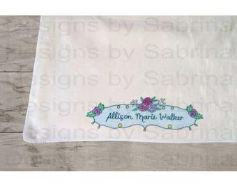 CUSTOM BABY Lovie-Lovey-Security Blanket-Baby Blanket-Keepsake-Personalized Blanket-Blankie-Floral-Baby-Personalized Baby Gift-Baby Shower