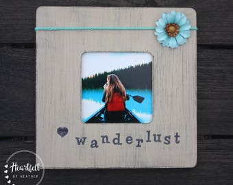 Wanderlust Rustic Frames - Travel Gifts for Woman - Boho Decor - Honeymoon Gifts - Mom Gifts for Her - College Student Gift - Long Distance