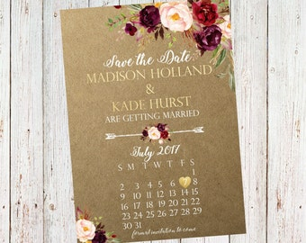 Save the Date Kraft Paper Rustic Floral