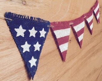 American Flag 4th of July Burlap Banner. 4th of July Decor. Memorial Day. Photo Prop. USA. Patriotic Decor.