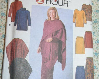 Simplicity 7799 Misses / Misses Tunic Skirt and Wrap Sewing Pattern - UNCUT - Size Xs S M