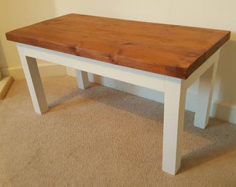 Solid Chunky Rustic Wood Side Table, Coffee Table