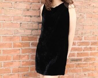 Vintage Shift Velvet Mini Dress- S/M