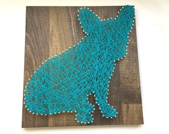 Aqua French Bulldog Silhouette - Nail and Aqua Blue String Art - Handmade- Made to Order - Ready to Hang with Hardware Home Decor - Frenchie