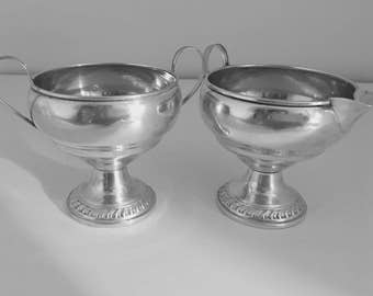 Sterling Silver Creamer and Sugar Bowl (weighted bottoms)
