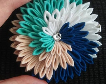 4 color fabric flower hair clip