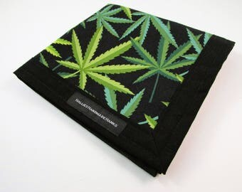 Marijuana Leaf Fabric Handmade Hank EDC Hank Everyday Carry Pocket Dump Hank Mens Handkerchief Gift for Pot Smoker Black and Green Hank