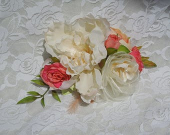 White Garden Rose Hair coral rose hair clip | etsy