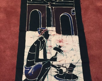 African elder wall hanging batik - hand painted, natural dyes, made with love