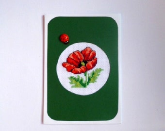 Mothers day card, Gift for mom, Gratitude cards, Embroidered card, Romantic card, Birthday card, Romantic gift, Green card, Red poppy flower