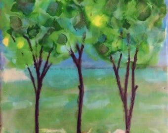 "Triple Trees, Original Encaustic Painting, Landscape, 7"" x 7"" Painting, Framed"