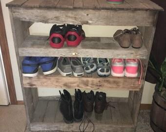 Rustic shoe organizer