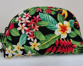 South Pacific Beauty Bag - Cosmetic Bag - Fabric Pouch - Beauty Bag - Vinyl Lined bag - Tropical Floral bag - Ladies Gift
