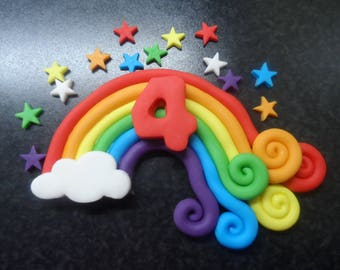 Edible Sugar Paste Rainbow with lovely twirly ends.