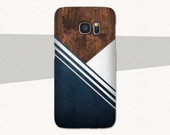 Wood Phone Case, Geometric Phone Case, Blue White Stripes iPhone 6 Case, 7 6s Plus 5, Samsung Galaxy S7, S6 S5, Edge, Note, Lg G5 Dark Brown