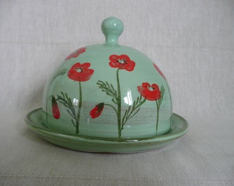 Handmade butter or cheese dome. Butter bell. Cheese dome. Poppy butter bell. Poppy cheese dome.