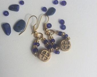 Blue and Gold teardrop earrings