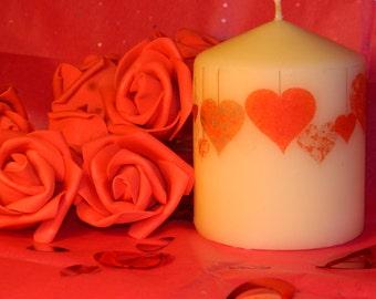 Hearts Pillar Candle, Home Decor, pillar candle, gift, decorative candle, Small Pillar Candle