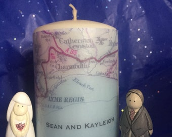 Personalised Candle, Weddings, Anniversary, Map Pillar Candle, gift ideas, hen parties, special occasion