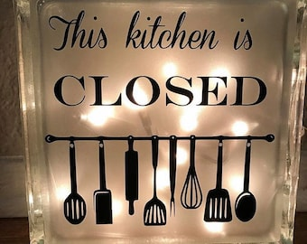 This kitchen is closed glass block