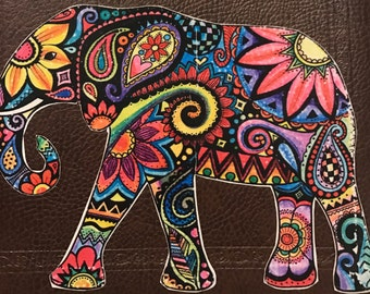Elephant with Paisley Pattern Decal