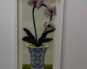 Potted Orchid Fused Glass Wall Art