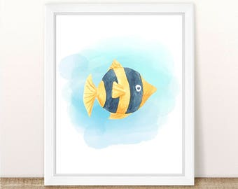 PRINTABLE Watercolor Fish Print, Sea Animal Nursery Print, Marine Nursery, Ocean Nursery Wall Art, Yellow Watercolor Fish Nursery Printable