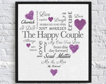 Heart Shaped Wedding Gift - Digital Download (Grey and Purple)