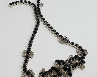 Gorgeous Black & Clear Rhinestone Choker Necklace