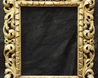 Hand-carved mirror frame lime / gold FLORENTIN, 82x69cm