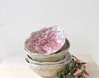 Pink and white ceramic stoneware pinch bowl