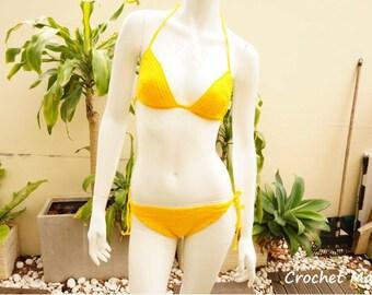 Yellow Classic Bikini Set Top + Bottom, Crochet Bikini, Yellow Crochet Bikini, Bikini Set, Yellow Crochet Bikini Top, Classic Bikini Set