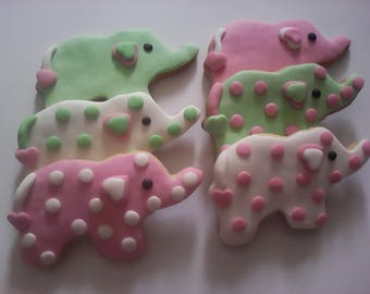 12 Pink Baby Elephant Hand Decorated Sugar Cookies Baked Goods Sugar Cookie Baby Shower Gift Decorated Baby Shower Cookies Baby Shower Favor