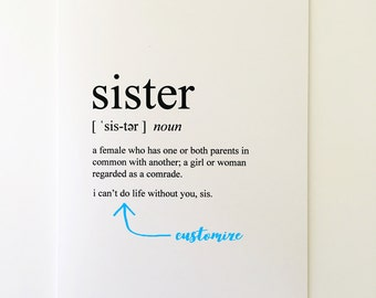 Sister Card - Siblings Day Card - Card for Sister - Friendship Card - Best Friend Card - Greeting Card - Humorous Greeting Card