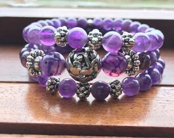 purple bracelet, amethyst bracelet, stackable bracelet, boho bracelet, beaded bracelet, stretch bracelet, stackable beaded bracelets