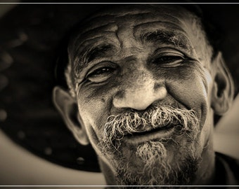 "photography black and white fine art portrait ""old man to smile"" art print"
