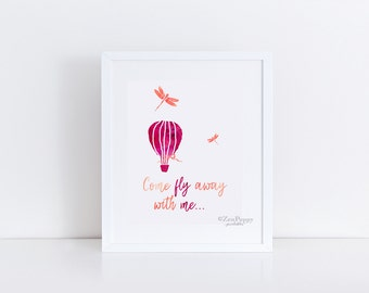 Come Fly Away with Me, Printable Art, Downloadable Print, Word Art