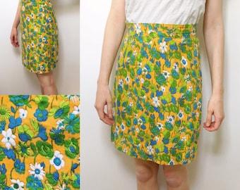 1960s pencil skirt • mid century modern skirt • mustard floral skirt • high-waisted skirt